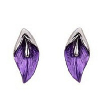 Purple and Pink Crystal Studded Leafy Earrings for Girls
