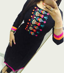 Buy Black embroidered georgette semi stitched kurti Woman online