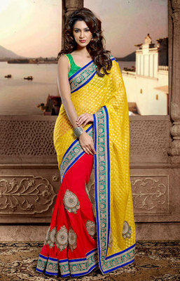 Yellow and Red Bemberg georgette Half and Half Saree