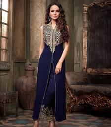 Buy blue silk embroidered semi stitiched salwar with dupatta party-wear-salwar-kameez online