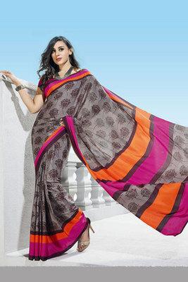 Grey and Pink Printed Saree Made of Crepe Fabric