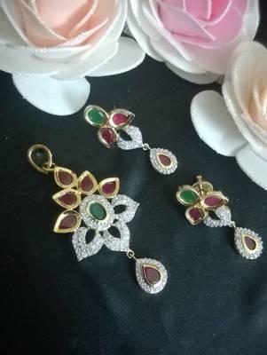ruby, emerald,cz diamond all in one