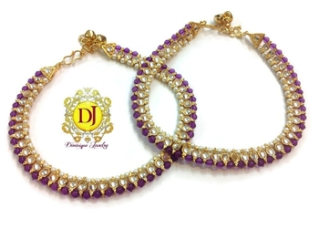 Single line kundan beads Payal...purple