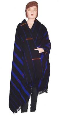 Hand-woven shawl from nagaland-black, blue & red