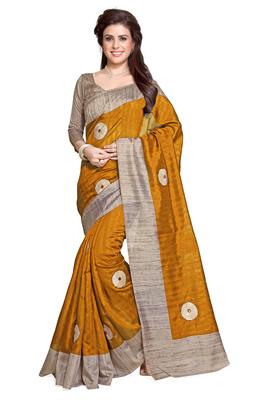 mustard plain bhagalpuri silk saree With Blouse