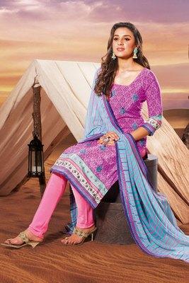 Pink Crepe Embroidered Salwar Kameez with Georgette Dupatta