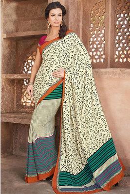 A Cream Art Silk Printed Saree