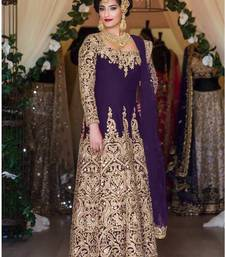 Buy Purple silk embroidered semi stitched salwar with dupatta anarkali-salwar-kameez online