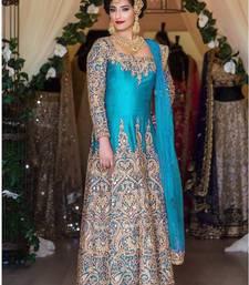 Buy Blue silk embroidered semi stitched salwar with dupatta party-wear-salwar-kameez online