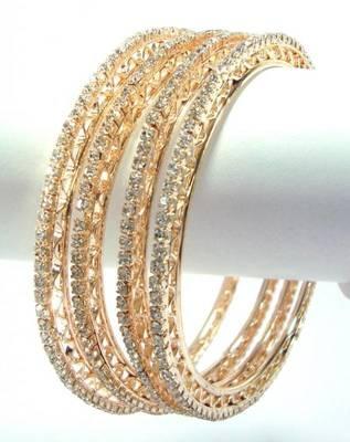 4 piece  sleek rhinestone bangle