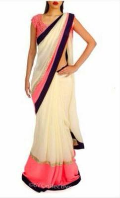 Cream and red georgette designer saree