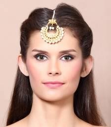 Buy Kundan Polki Gold Designer Classic Pretty Mangtikka maang-tikka online