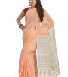 Buy Hand embroidered peach and green cotton lucknowi chikan saree with blouse chikankari-saris online