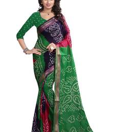 Buy green hand woven bandhani saree With blouse bandhani-sarees-bandhej online