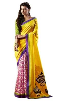 Triveni Amazing Off White Indian  Bhagalpuri Silk Printed Saree TSVD19014