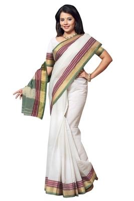 Triveni Appealing White Border Work Cotton Saree TSMRCC409