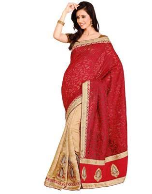 Red & Beige Color Banarasi - Jacquard Saree