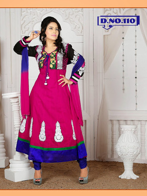 PINK EMBROIDERY PATCH WORK ANARKALI SUIT