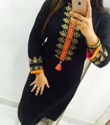 Buy Black embroidered georgette stitched kurti georgette-kurtis online