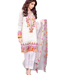 Buy White cotton embroidered semi stitiched salwar with dupatta party-wear-salwar-kameez online
