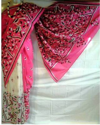 Silk Kantha Saree in Pink and White color k2