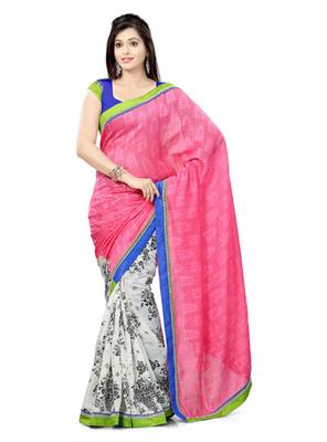 Hypnotex Bhagalpuri jacquard + cotton jacquard Off White+Pink Saree Tvisha 6004