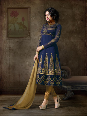 Hypnotex Georgette Blue Semi Stitch dress Purvi 1111