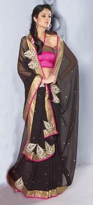Black chiffon saree SC30022B