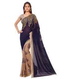 Buy blue printed georgette saree With Blouse below-500 online