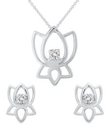 Buy Sparkling Silver & Diamond Pendant Set With 'Lotus Flower' Pendant online