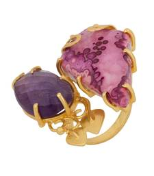 Buy Trendy Gold Plated Statement Ring Decked With Druzy Stone Ring online