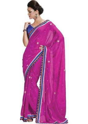 Pink Handwork Saree