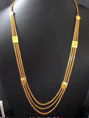 Golden three line long necklace