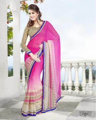Zoom Fabric gerogette Saree 6908