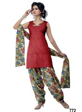 Maroon Designer Cotton Patiala Salwar Kameez