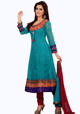 Salwar Studio Sky Blue & Red Net Brasso unstitched churidar kameez with dupatta Aafreen-28003