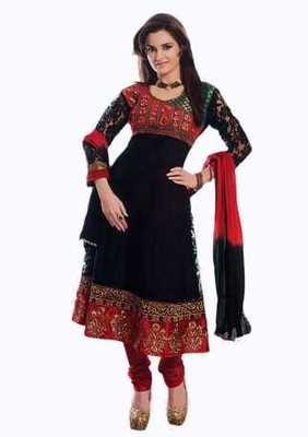Salwar Studio Black & Red Net Brasso unstitched churidar kameez with dupatta Aafreen-28006