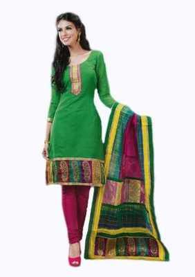 Salwar Studio Green & Pink Banarasi Jacquard unstitched churidar kameez with dupatta Innaya-26007