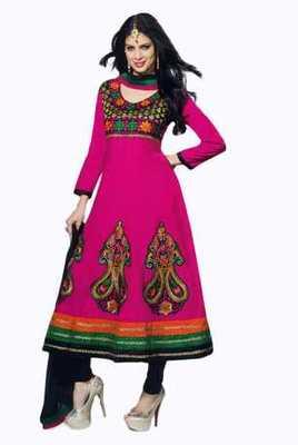 Salwar Studio Pink & Black Chanderi unstitched churidar kameez with dupatta Mokksh-30003