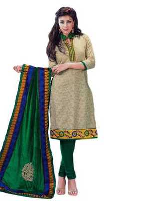 Salwar Studio Fawn & Green Cotton unstitched churidar kameez with dupatta Riwaaz-27005