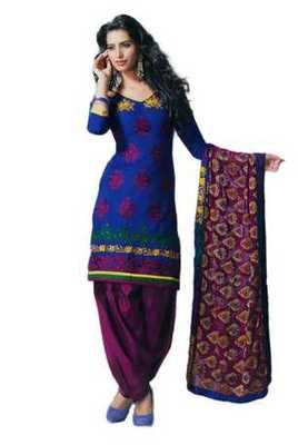 Salwar Studio Blue & Magenta Cotton unstitched churidar kameez with dupatta Rukhsana-23009
