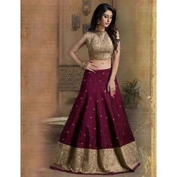 Maroon embroidered banglori silk unstitched lehenga choli
