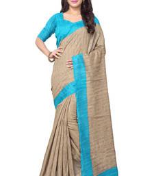 Buy beige printed bhagalpuri silk saree With Blouse bhagalpuri-silk-saree online
