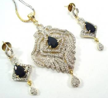 American diamond sapphire blue two tone pandant earring set adw14 A Muhenera collection