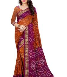 Buy Bandhani Saree (Orange hand woven Bandhani saree With Blouse) black-friday-deal-sale online