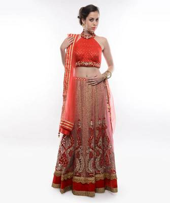 RED AND GOLDEN HEAVILY EMBELLISHED LEHENGA - by Abhilasha & Abhishek