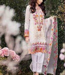 Buy White georgette embroidered semi stitched salwar with dupatta pakistani-salwar-kameez online