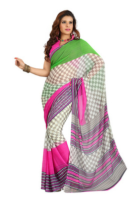 Fabdeal Grey Colored Colombus Chiffon Printed Saree