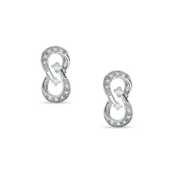 Cara sterling silver and certified Swarovski stone studded Infinite beauty pure silver earrings for women