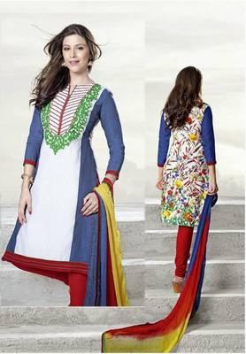 Exquisite white & Blue Lenin & Cotton Print Salwar Kameez